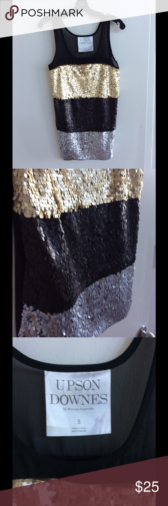 Sequins Top Three tone sequence tank top. Sheer at chest and shoulders. Tops Tank Tops
