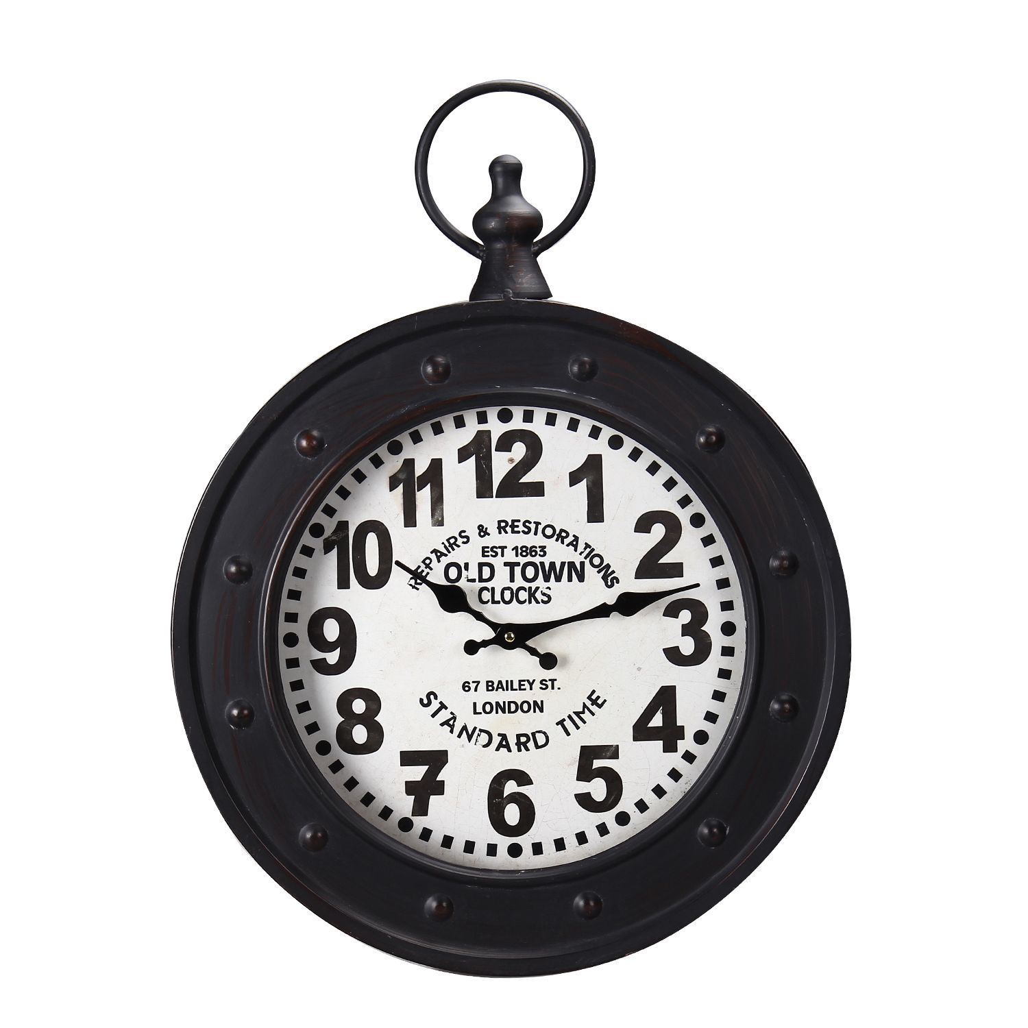 This handsome vintage inspired wall clock has a classic round this handsome vintage inspired wall clock has a classic round shape with a faux riveted frame and a pocket watch winding crown fob detail amipublicfo Choice Image