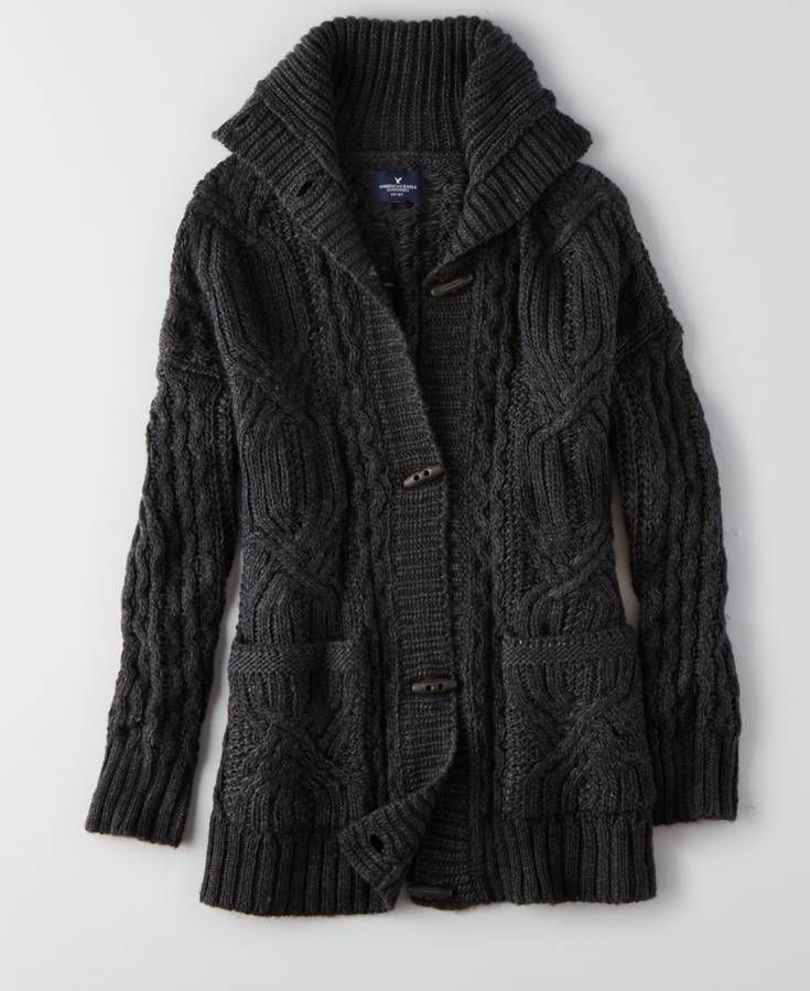 AEO Cable Knit Toggle Cardigan, Women's, Dark Heather Grey ...