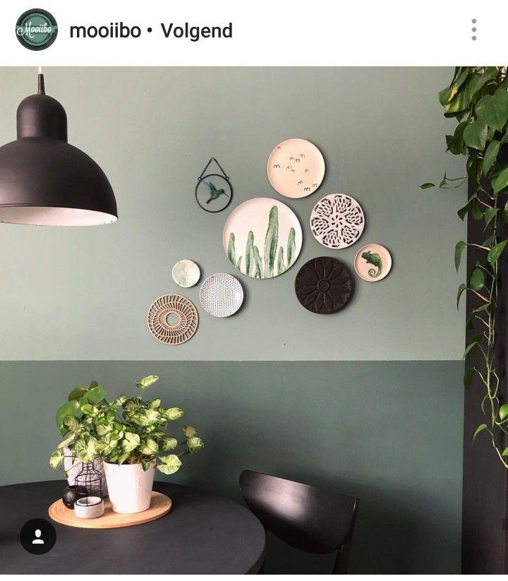 Ideen was alles an die fokus wand kann + option von farbkombi? Dunkelgrün unten  hellgrün darüber? #halinrichting