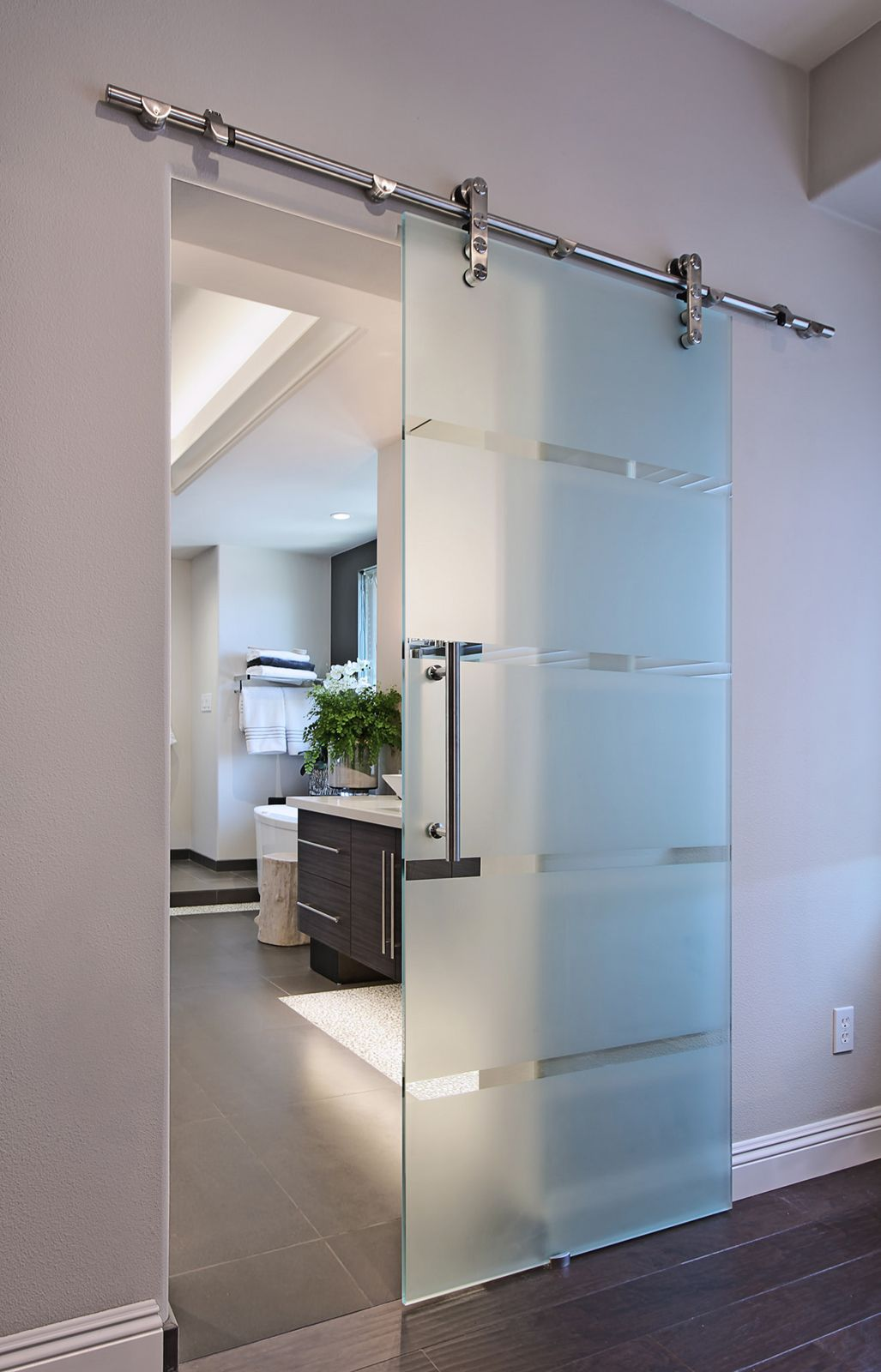 Modern apartment design bathroom interior design - Contemporary glass doors interior ...