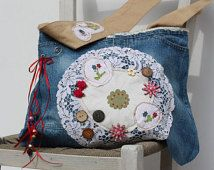 "Story Bag ""Cottage Garden"" unique artistic one-of-a-kind designer authentic boho statement purse upcycled denim"
