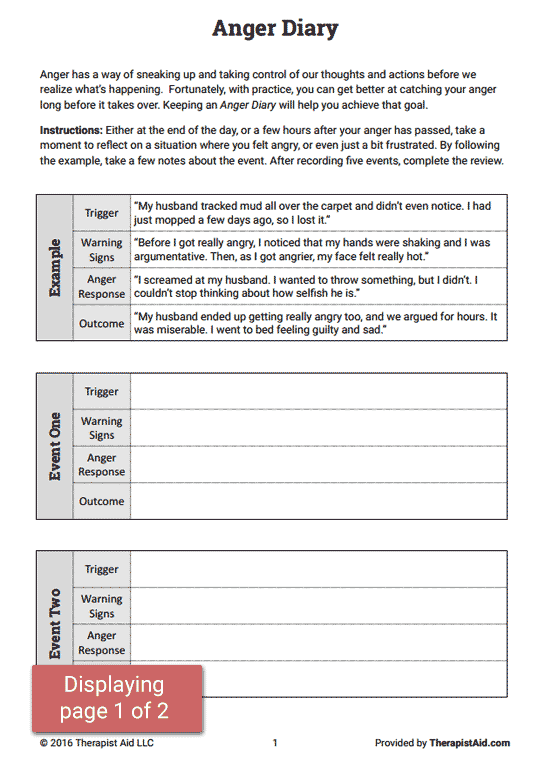 Anger Diary Worksheet Couples Therapy Pinterest Counselling