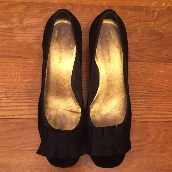 BCBGMaxAzria Black Suede Kitten Heels Size 10 I absolutely adore these shoes but am no longer the size shoe I used to be!  They are size 10 and are very comfortable with lovely detail in the front.  They are a little worn with marks on the heel as shown in the picture. BCBGMaxAzria Shoes Heels