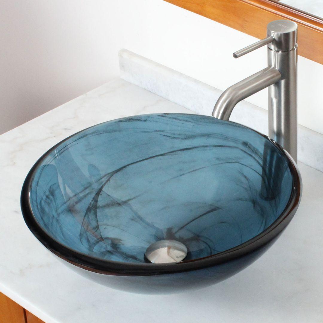 Elite Double Layered Tempered Glass Bowl Vessel Bathroom Sink Brushed Nickel Glass Vessel Sinks Bathroom Sink Sink