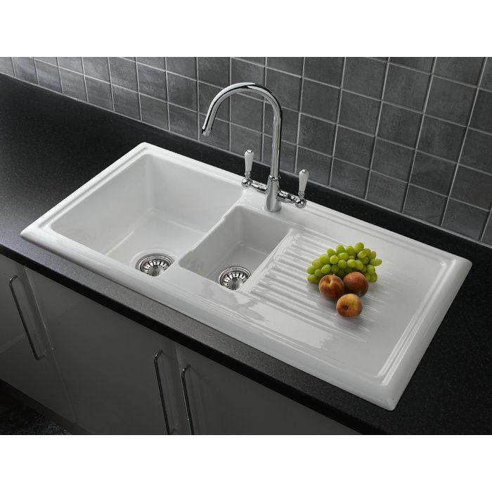 101cm x 525cm Bowl Inset Kitchen Sink with Waste kitchen - küchenspüle mit unterschrank