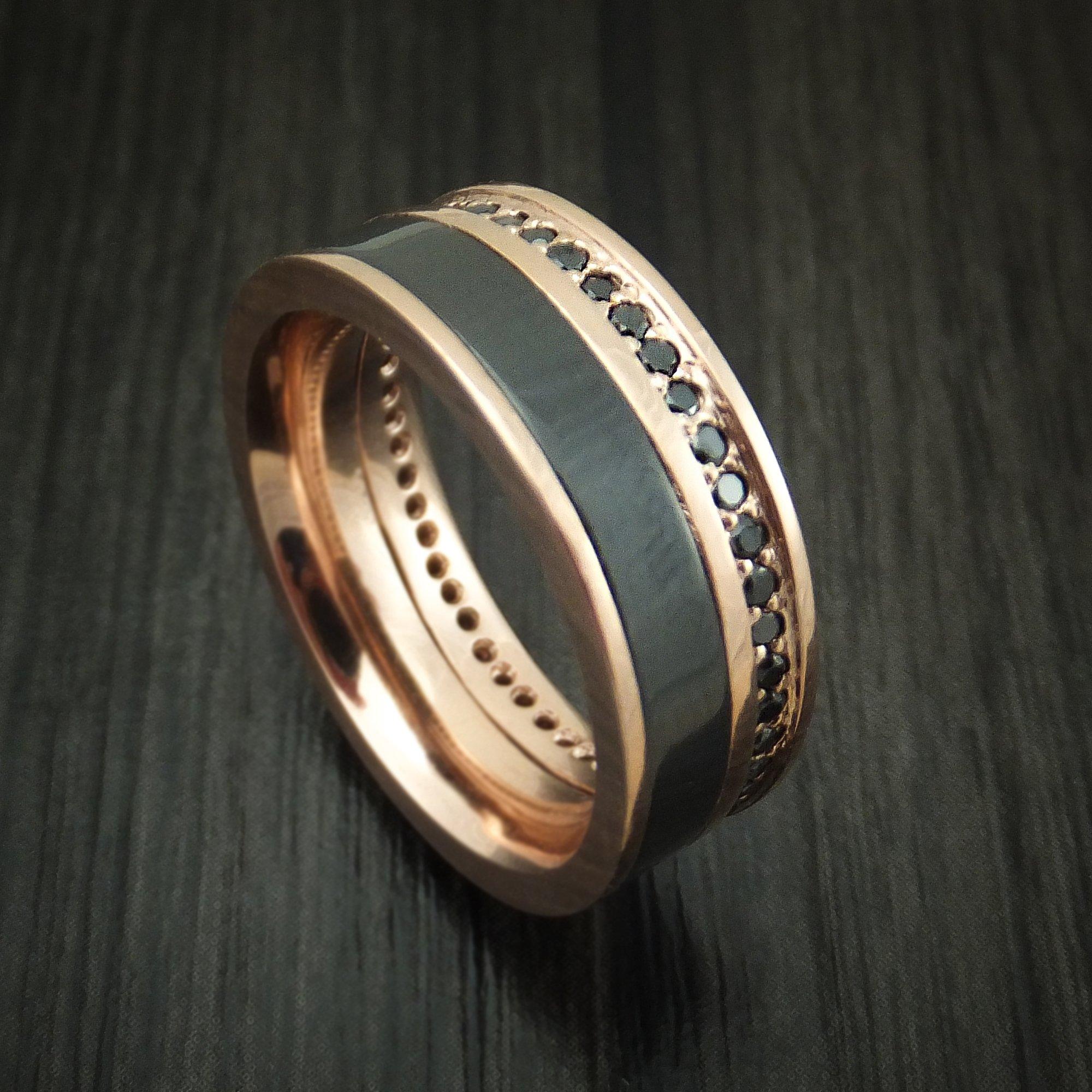 14K Rose Gold Ring with Black Zirconium and Black Diamond