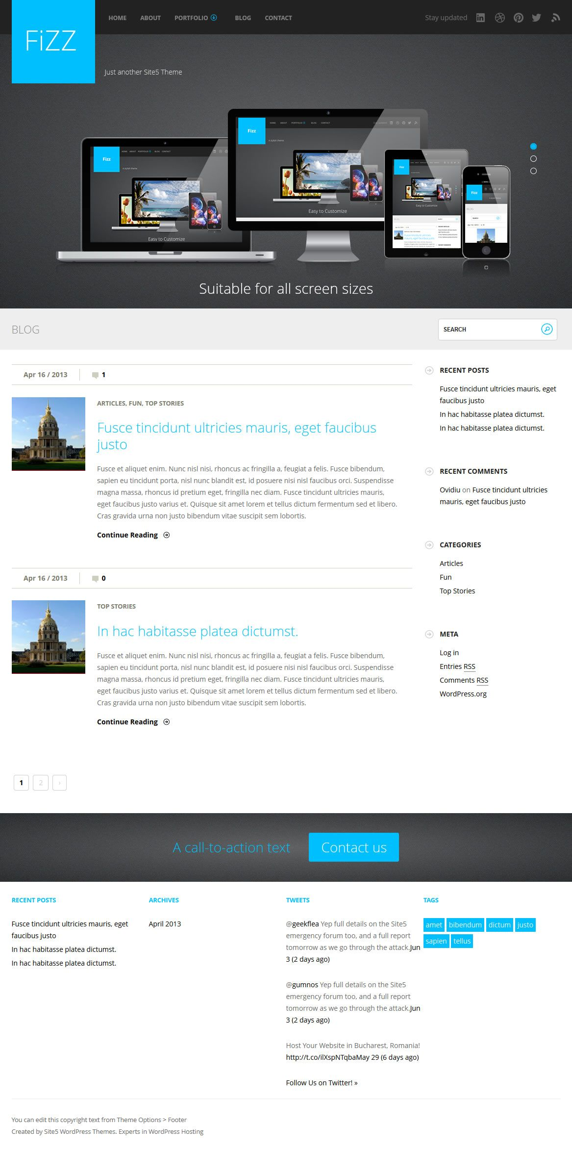 Fizz Wordpress Theme Download It For Free From Site5 Free Freebie Wordpress Theme Template Creative Blog Free Wordpress Themes Theme Wordpress Theme