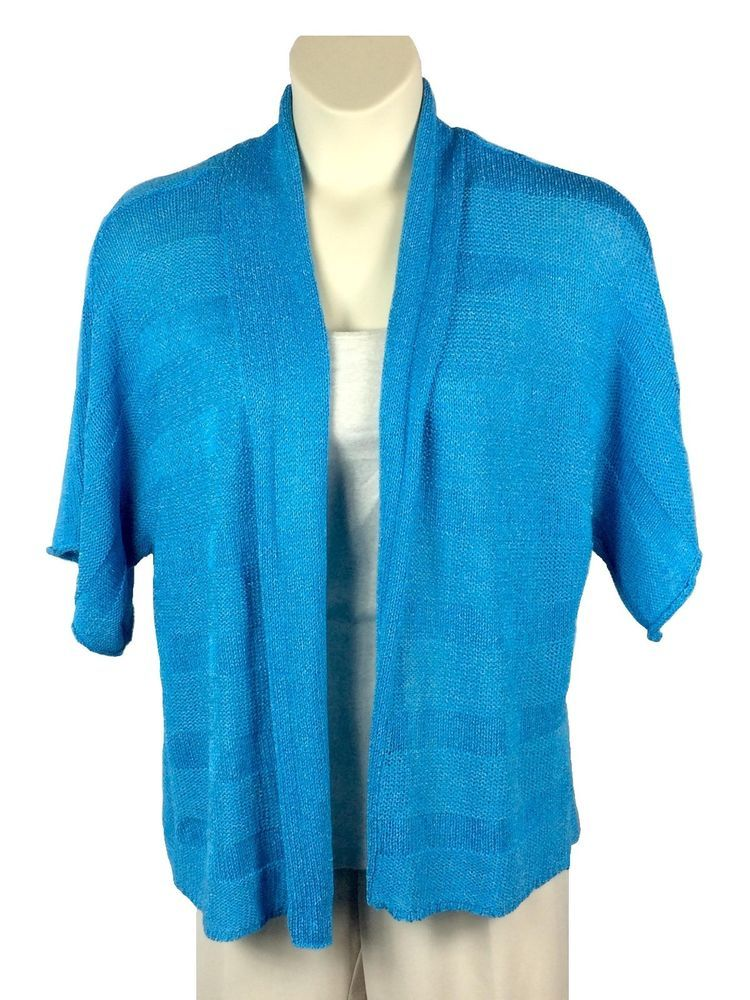 Womens Cable & Gauge Open Front Turquoise Cardigan Sweater Plus Size ...