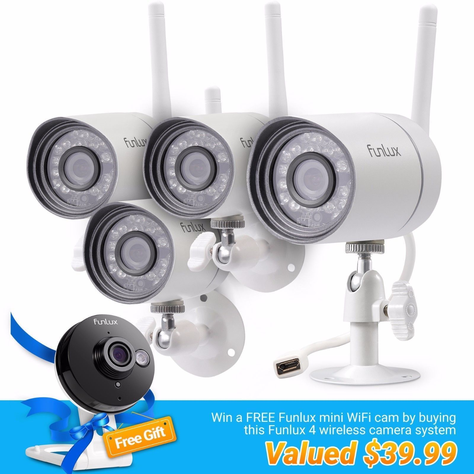 Funlux 720p HD 4 IP Wireless Outdoor IR Night Vision Home Security ...