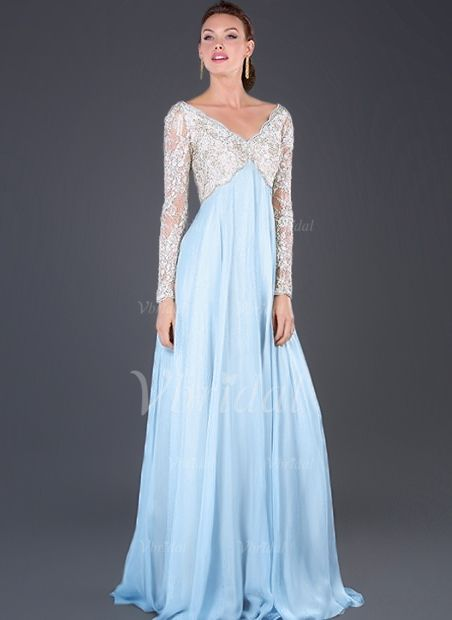 4430ef828c6 Empire V-neck Sweep Train Appliques Lace Chiffon Tulle Zipper Up Sleeves  Long Sleeves Sky Blue Spring Summer Fall Mother of the Bride Dress