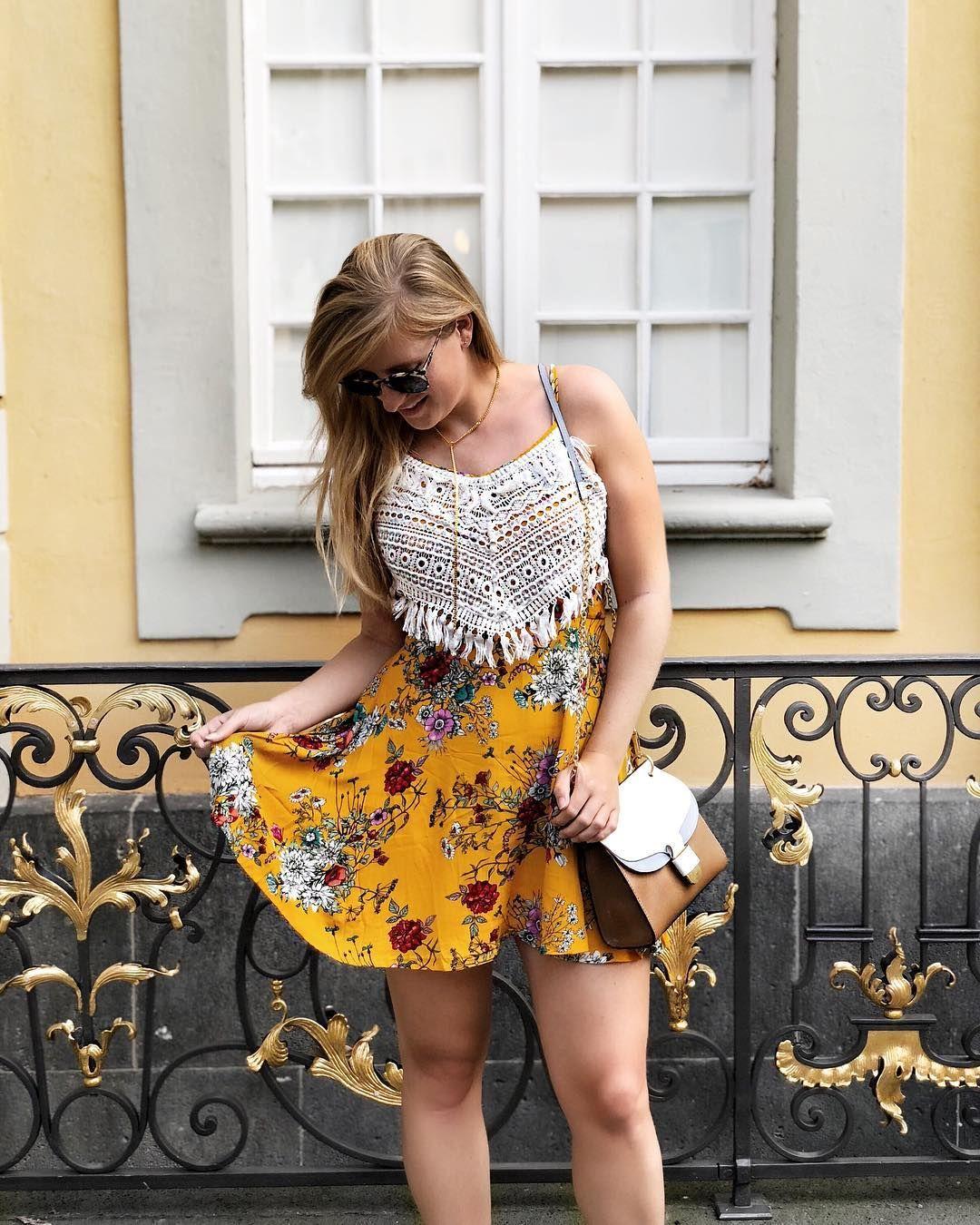 Streetstyle Sommerkleid Kleid Gelb Strick Valentino ...