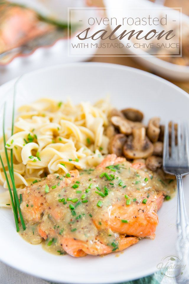 Photo of Oven Roasted Salmon with Mustard and Chive Sauce
