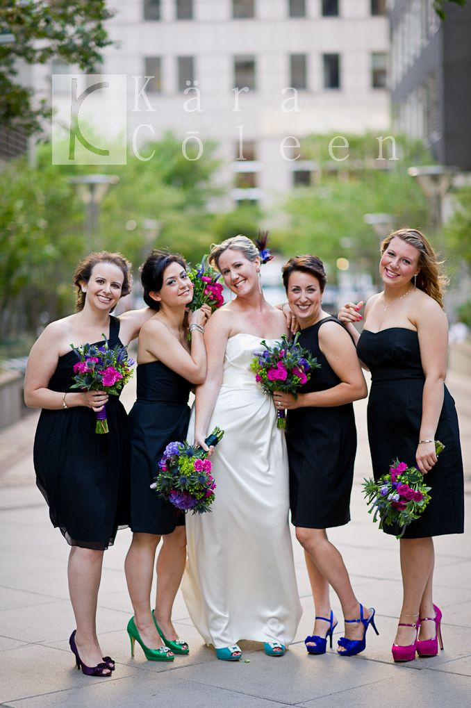 Wedding colors with black bridesmaid dresses
