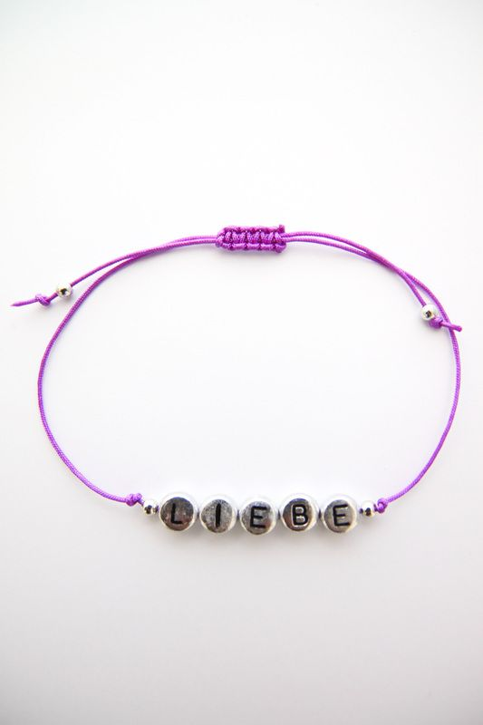 Personalized Handmade Bracelet - Royal Velvet Satin Cord + Sterling Silver alphabet design + Sterling Silver beads - Loving Memento