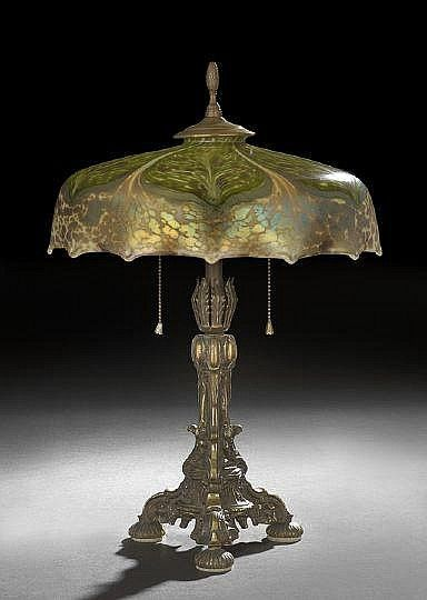 Steuben pulled feather and tortoise glass lamp, c. early