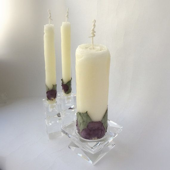 Beeswax Rose Unity Candle Set Wedding Gift By Forestcandlestudio