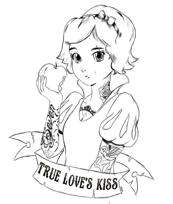 Punk Princess Snow White Colouring Page | Snow white ...