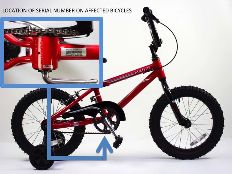 Marin bicycle serial number location on downtube  | Recalled