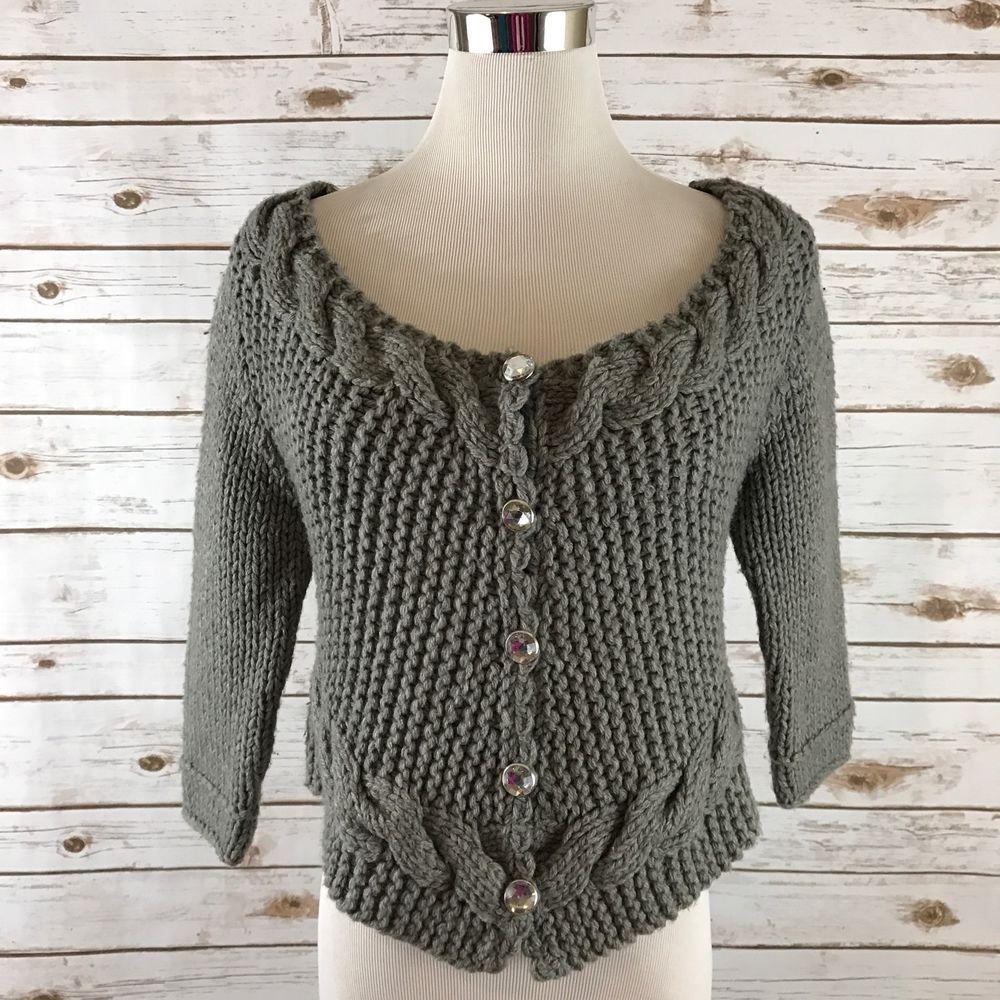 Free People S Bolero Cardigan Sweater Cable Knit GRAY Boho Hippie Chic SMALL EUC  | eBay