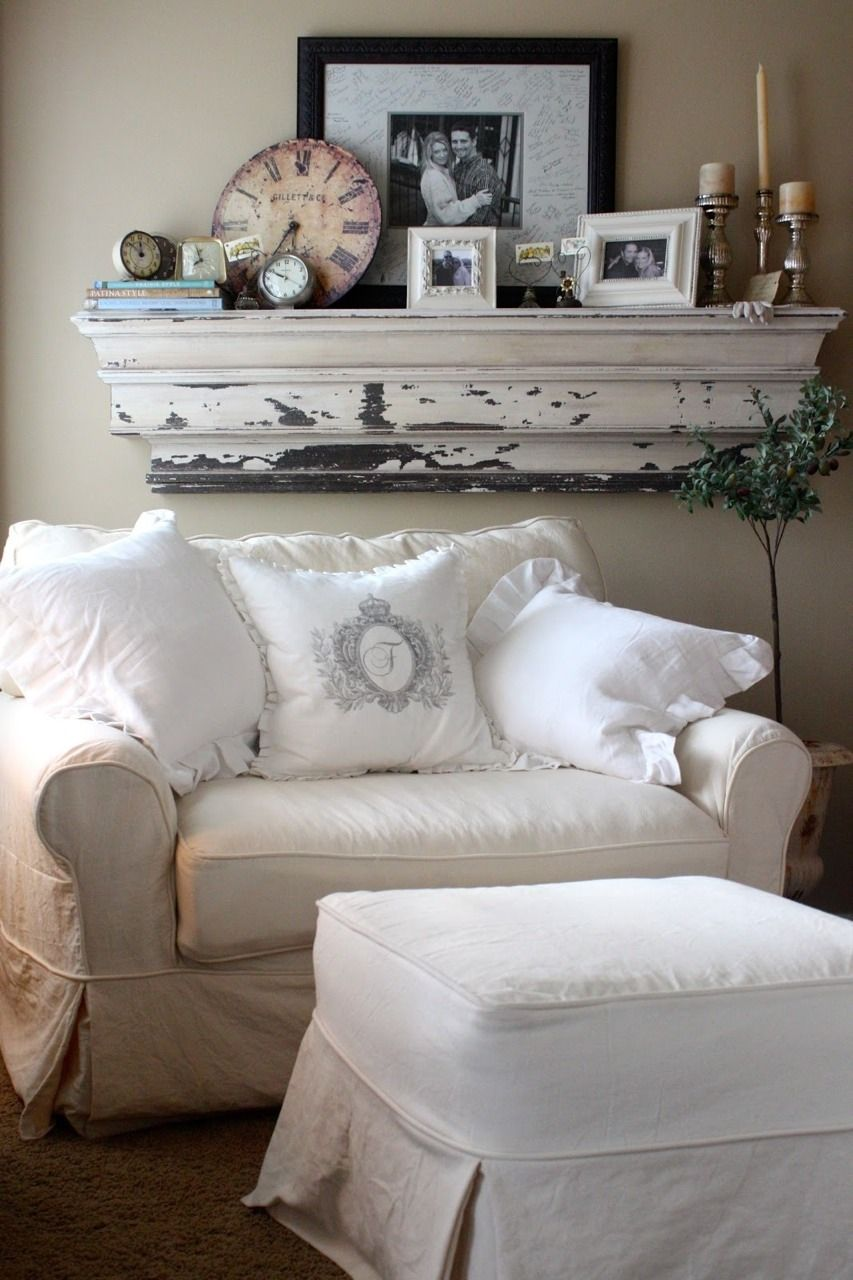 Cozy Reading Nook With Oversized Chair And Pillows. Large White Chippy  Shelf Loaded With Vintage Goodies.