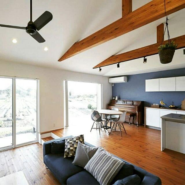 リビング 平屋のスキップフロア 30坪 注文住宅 すっきりとした暮らし