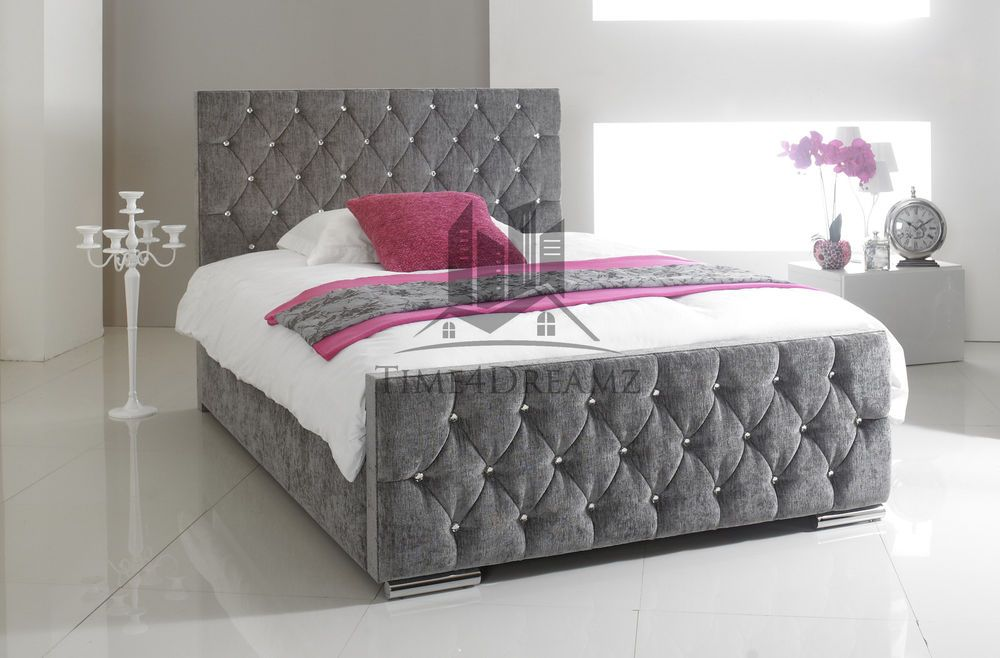 Details About Florida Diamond Fabric Upholstered Bed Frame Grey 4