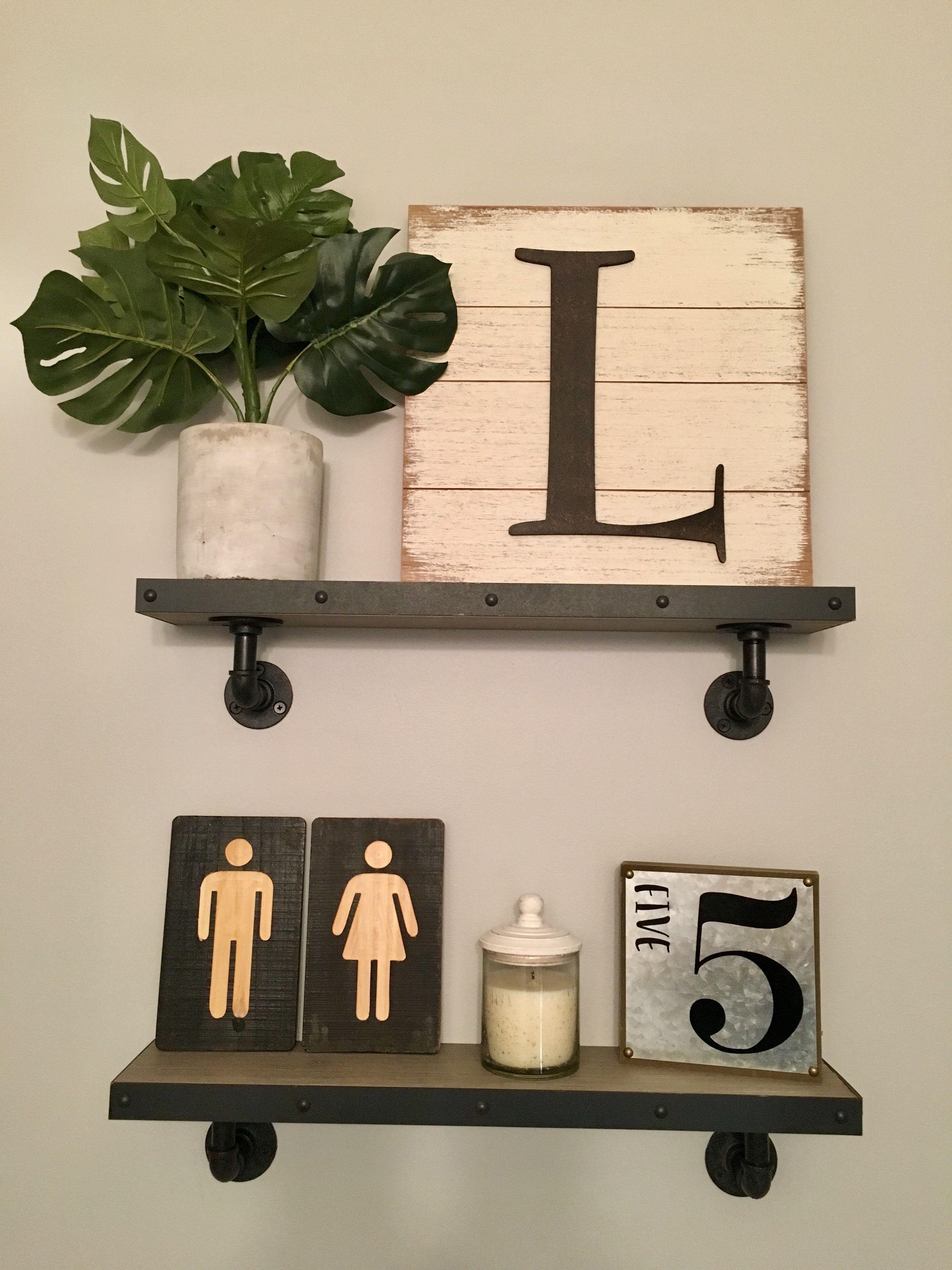 Bathroom Shelf Decor Over Toilet, Shelving Decor, Industrial Shelves, Floating