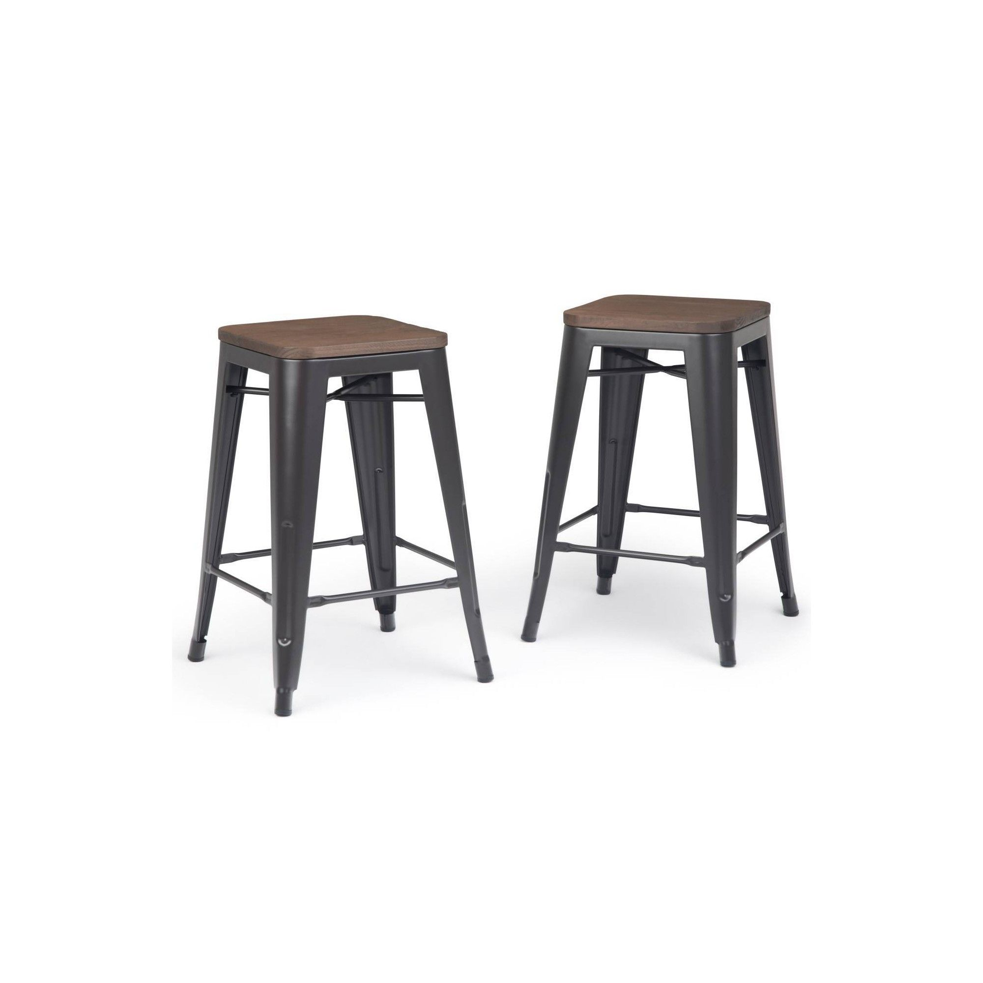 24 Set Of 2 Hartley Metal Counter Stool With Wood Cocoa Brown