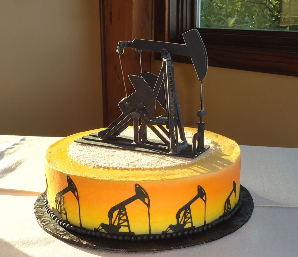 Another Shot Of The Grooms Cake With The Oil Pump Jack