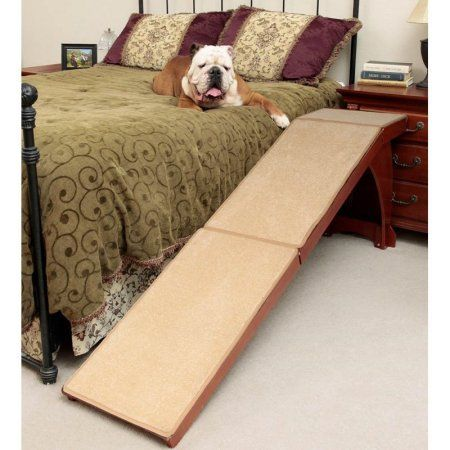 Petsafe Cozyup Bed Ramp For Dogs And Cats Durable Easy To Store Carpet Covered Cherry Walmart Com Dog Stairs Cat Ramp Pet Ramp