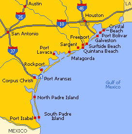Texas Beaches are scattered along 560 Km of shoreline in the Gulf