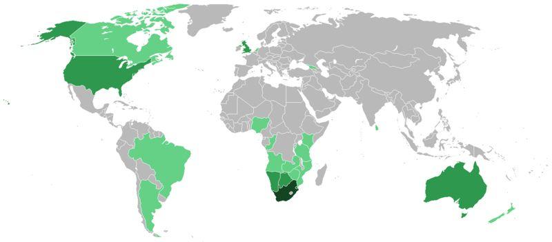Afrikaner diaspora:    Lig groen: 10,000  Medium groen: 10,000+ Donker groen:  1,000,000+ Afrikaners wat woon in daardie lande.