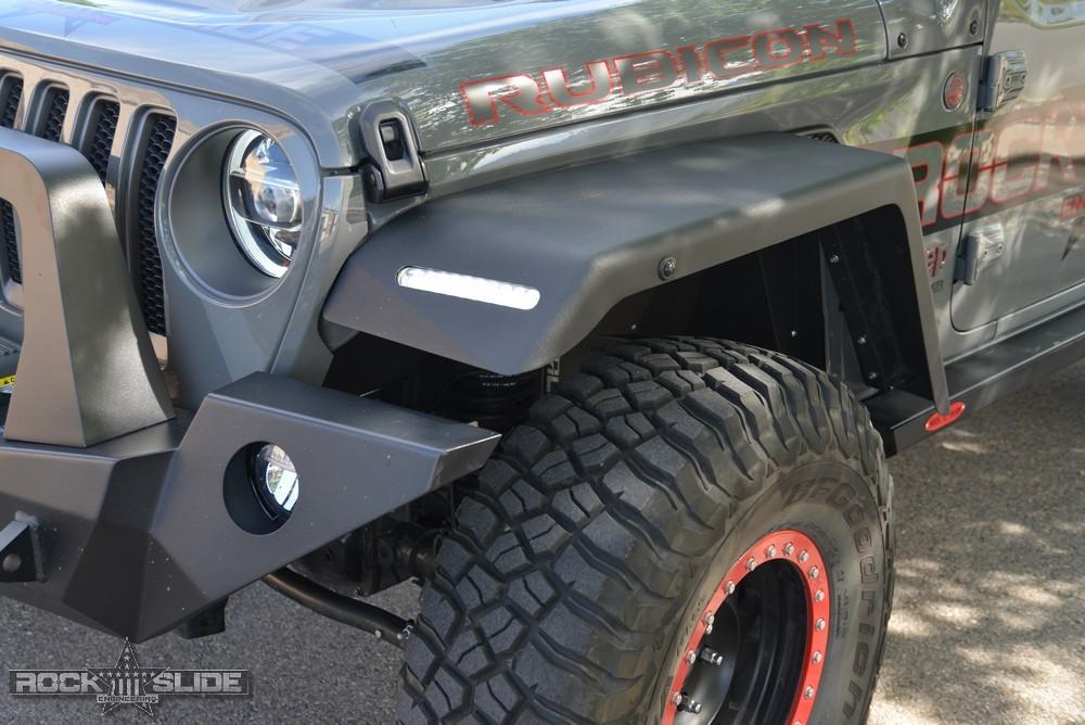 Front Fender Flares For Jeep Wrangler Jl Full Length W Oem Led Rock Slide Engineering In 2020 Fender Flares Jeep Wrangler Wrangler Jl