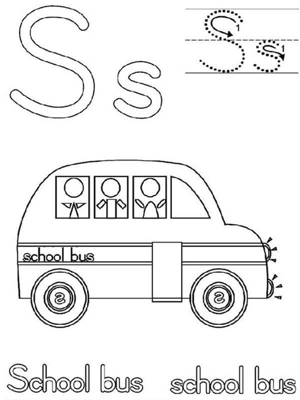 Learn Letter S For School Bus Coloring Page Kids Play Color Learning Letters School Bus Lettering