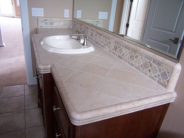 Striking Bathroom Backsplash Ideas With Elegant Bathroom Vanity Equipped With Tile Countertop Design Idea With Large Mirrors Tiled Countertop Bathroom