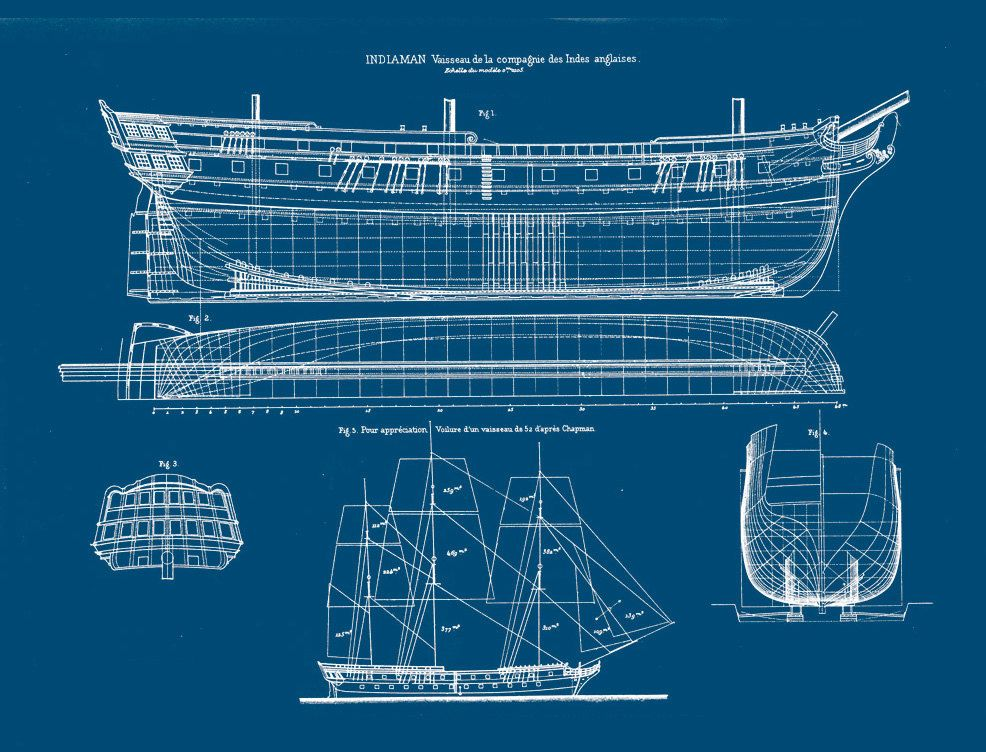 Ship blueprint nautical technical drawing of sailing for Blueprint scale