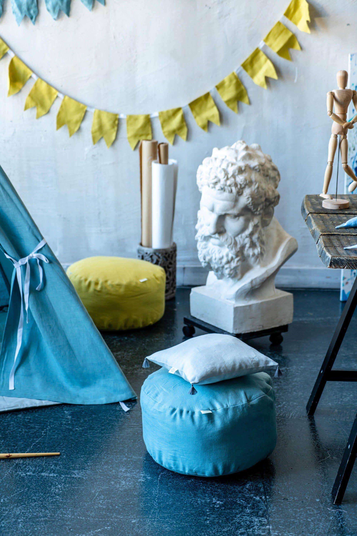 Kids ottoman round pouf toddler nursery pouf blue floor pillow kids pouf birthday gift baptism christening baby girl baby boy newborn