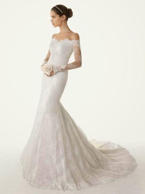 Off-the-shoulder wedding dress