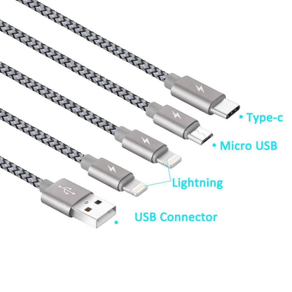 multi usb cable jastek 3 3 feet 1m 4 in 1 braided multiple charging cable. Black Bedroom Furniture Sets. Home Design Ideas