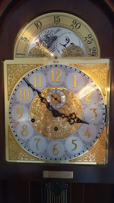Ridgeway cherry grandfather clock with brass weights and