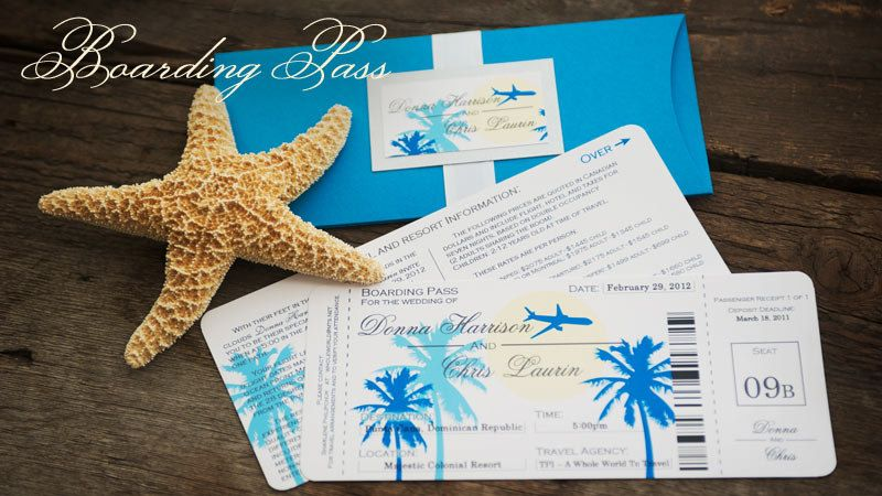 Destination wedding invites boarding pass