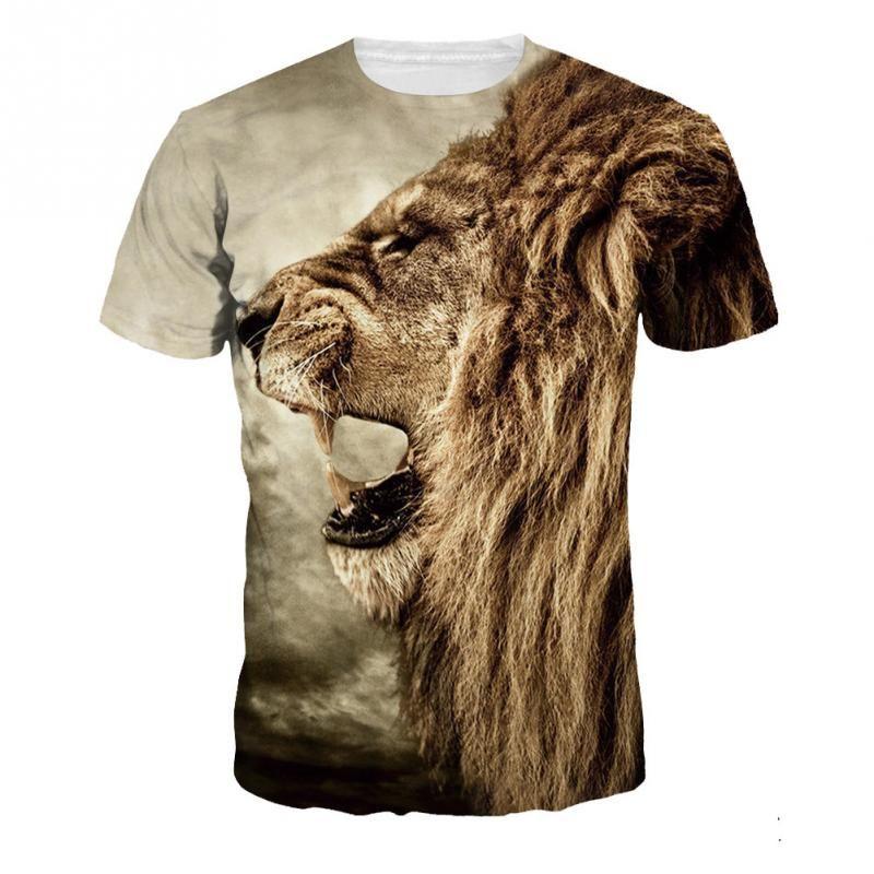 d09c8529bc Barato Nova moda das mulheres dos homens de hip hop coroa leão camiseta  impressão compressão dos