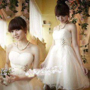 花嫁 二次会ミニドレス 花嫁ウェディングドレス 結婚式 ドレス 披露宴ドレス パーティードレス ミニドレス