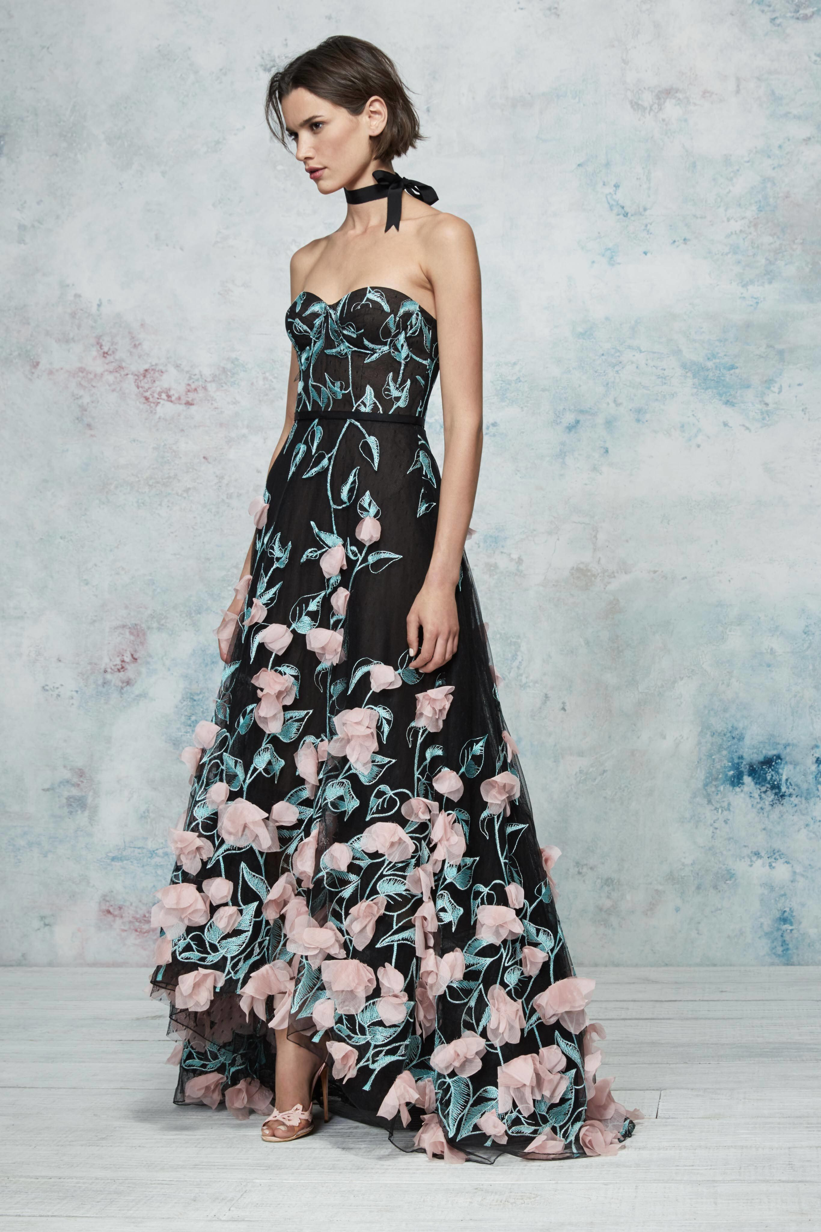 Black lace dress 3/4 sleeve may 2019 Marchesa Notte Resort  Fashion Show Collection See the complete