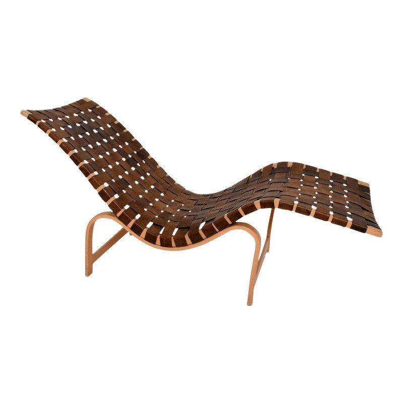 Danish Modern Chaise Lounge By Bruno Mathsson Leather Birch