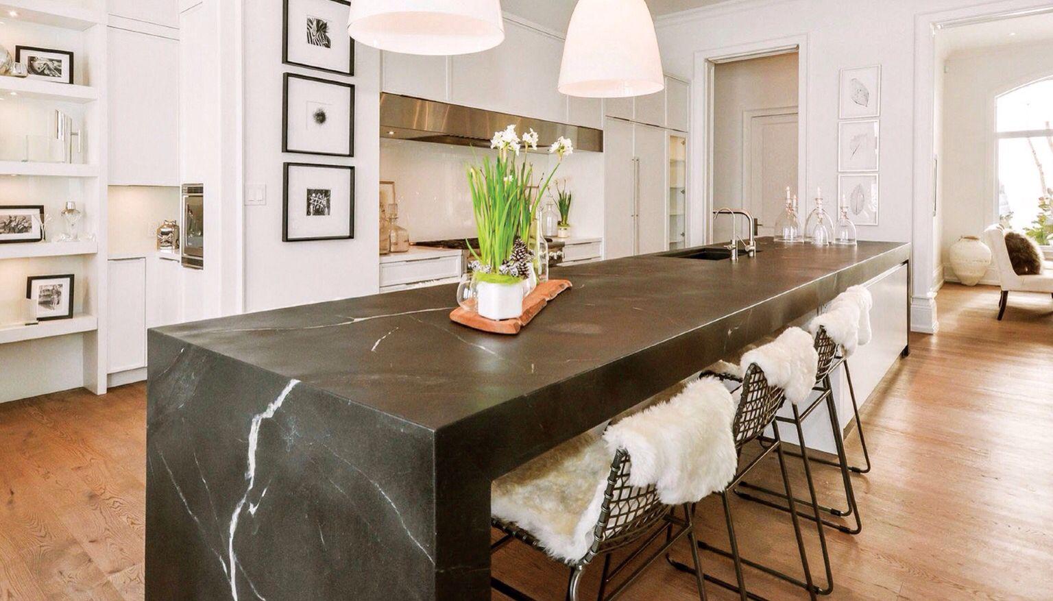 Gorgeous Soapstone Waterfall Edge Island Diy Kitchen Countertops