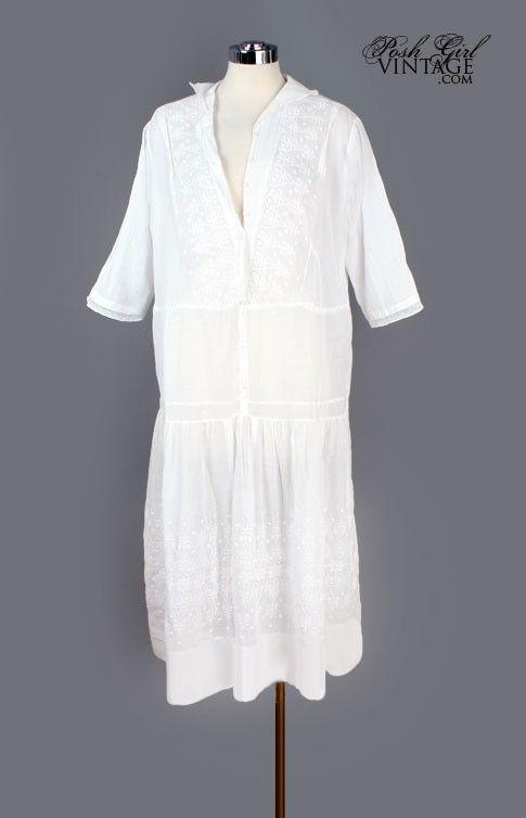 1920's White Embroidered Cotton Flapper Era Dress - M/L $284.99 Vintage Dresses