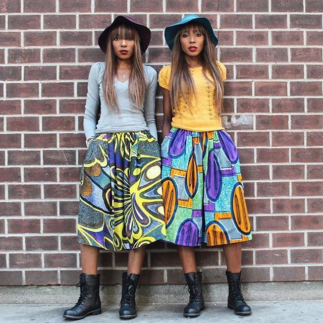 Street Style Saturday from DPiper Twins. Love this look ❤️❤️❤️ www.zuvaa.com #africanfashion #africanprint