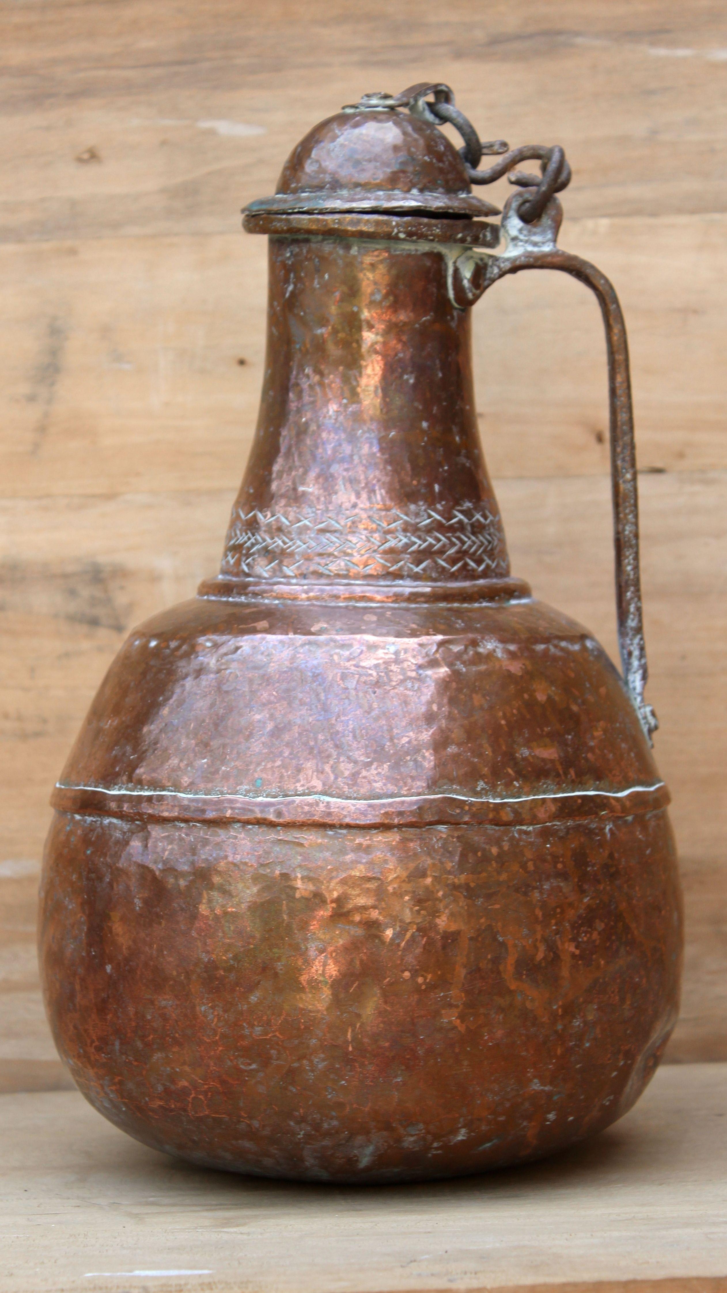 19th Century Copper Pitcher Large Handmade Hammered Water Jug Oriental Antique Décor Kitchen